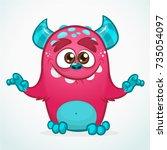 happy cartoon monster.... | Shutterstock .eps vector #735054097
