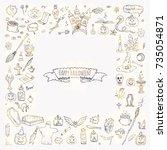 hand drawn doodle happy... | Shutterstock .eps vector #735054871