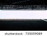 urban alleyway view looking up. ... | Shutterstock . vector #735059089