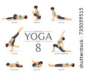 set of 8 yoga poses in flat... | Shutterstock .eps vector #735059515