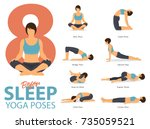 a set of yoga postures female... | Shutterstock .eps vector #735059521