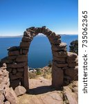 view of lake titicaca through... | Shutterstock . vector #735062365