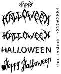 halloween titles set.... | Shutterstock .eps vector #735062884