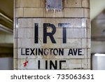 Small photo of New York City - October 14, 2017: Vintage sign for the IRT Lexington Ave. Line in New York City