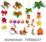 christmas ornaments isolated... | Shutterstock .eps vector #735066217