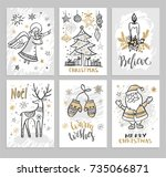 christmas hand drawn cards with ...