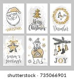 christmas hand drawn cards with ... | Shutterstock .eps vector #735066901