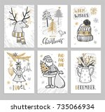 christmas hand drawn cards with ... | Shutterstock .eps vector #735066934
