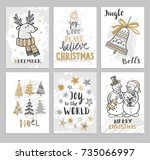 christmas cards with hand drawn ... | Shutterstock .eps vector #735066997