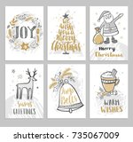 christmas hand drawn cards with ... | Shutterstock .eps vector #735067009