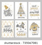 christmas hand drawn cards with ... | Shutterstock .eps vector #735067081