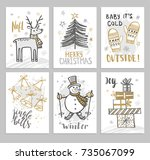 christmas hand drawn cards with ... | Shutterstock .eps vector #735067099
