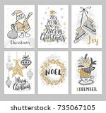 christmas cards with hand drawn ... | Shutterstock .eps vector #735067105