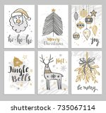 christmas hand drawn cards with ... | Shutterstock .eps vector #735067114