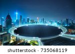 round stage floating on the... | Shutterstock . vector #735068119