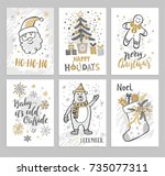 christmas hand drawn cards with ... | Shutterstock .eps vector #735077311
