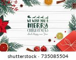 merry christmas background with ... | Shutterstock .eps vector #735085504