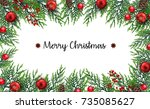 christmas background with fir... | Shutterstock . vector #735085627