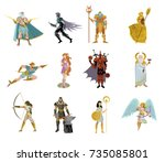 greek roman gods collection | Shutterstock .eps vector #735085801