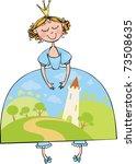 beautiful princess in a blue... | Shutterstock .eps vector #73508635