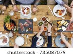 group of people dining concept | Shutterstock . vector #735087079