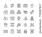 wedding icon set. collection of ... | Shutterstock .eps vector #735087817