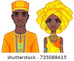 animation portrait of the... | Shutterstock .eps vector #735088615