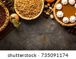 fall traditional pies pumpkin ... | Shutterstock . vector #735091174