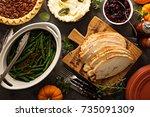 sliced roasted tukey breast for ... | Shutterstock . vector #735091309