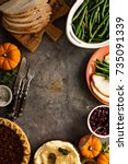 thanksgiving table with turkey  ... | Shutterstock . vector #735091339