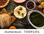 mashed potatoes with butter and ... | Shutterstock . vector #735091351
