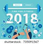 fitness concept of fitness... | Shutterstock .eps vector #735091567