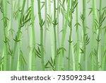 cartoon bamboo forest green... | Shutterstock .eps vector #735092341