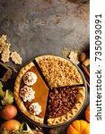 fall traditional pies pumpkin ... | Shutterstock . vector #735093091