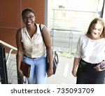 people walking up to office... | Shutterstock . vector #735093709