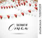 sultanat of oman national day... | Shutterstock .eps vector #735095359