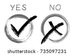 symbolic ok and x approval... | Shutterstock .eps vector #735097231