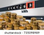 fast running electricity meter  ... | Shutterstock . vector #735098989
