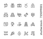wedding icon set. collection of ... | Shutterstock .eps vector #735099001