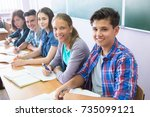 group of students takes the... | Shutterstock . vector #735099121