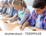 group of students takes the... | Shutterstock . vector #735099145