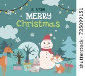cute christmas greeting card.... | Shutterstock .eps vector #735099151