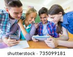group of young students... | Shutterstock . vector #735099181