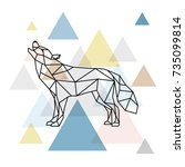 silhouette of a geometric wolf. ... | Shutterstock .eps vector #735099814