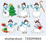 set of winter cartoon snowman... | Shutterstock .eps vector #735099844
