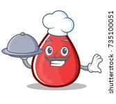 chef blood drop cartoon mascot... | Shutterstock .eps vector #735100051