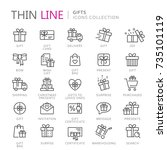 collection of gifts thin line... | Shutterstock .eps vector #735101119