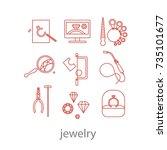 set of professional jeweler... | Shutterstock .eps vector #735101677