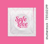 realistic 3d detailed condoms... | Shutterstock .eps vector #735102199