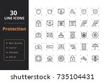 30 protection line icons. icons ...